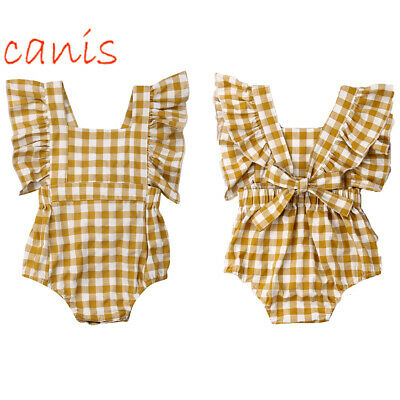 Soft Infant Toddler Baby Girl Fly Sleeve Romper Jumpsuit Clothes Outfit Playsuit