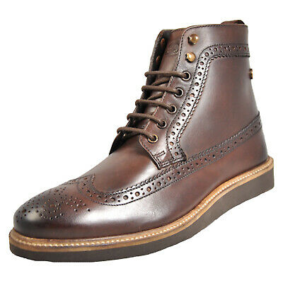 0775bf3729e BASE LONDON NEBULA Men's Brogue Leather Dress Ankle Boots Brown