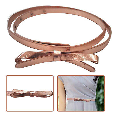 Butterfly Bowknot Buckle Skinny Thin Faux Leather Waist Belt Kids Girl Accessory