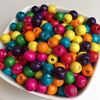 100X Mixed Multi Colour Wood Beads 10x9mm Round Drum Wooden DIY Craft Bead