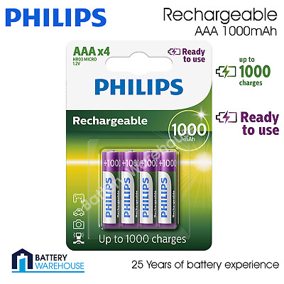 4 x Philips AAA 1000mAh Rechargeable Batteries Cordless Phone Solar HR03 NiMH