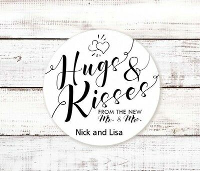 Hugs and Kisses - Round Personalized Bridal  Wedding Shower Sticker Labels