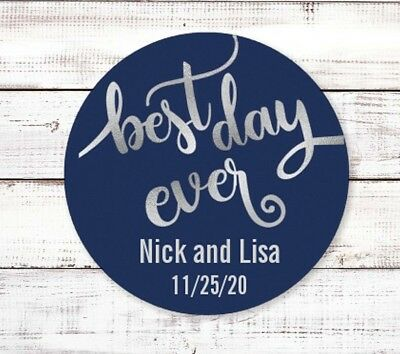 Best Day Ever Round Personalized Bridal Shower Party Sticker Labels | Wedding