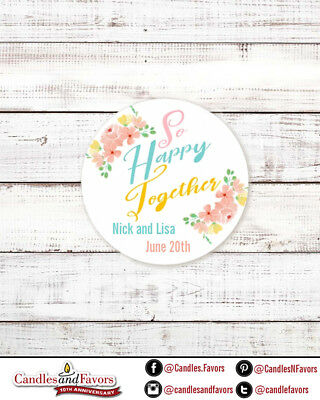So Happy Together - Round Personalized Bridal  Wedding Shower Sticker Labels