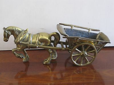 Very heavy & Large Nice vintage solid brass horse with cart carriage
