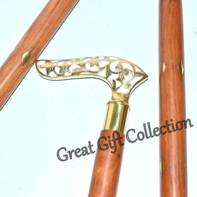Brass Vintage Victorian Style Head Handle Shaft Wooden Walking Cane Stick New