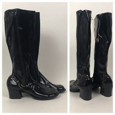 RARE 1960s Black Boots / Original NOS Black Vinyl Knee High Boots / Women's 8