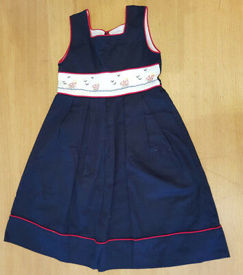 3dea3148a RACHEL RILEY GIRLS Pleated Navy colour with red trim dress 6 yrs ...
