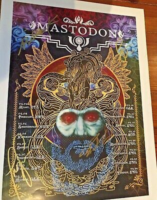 "MASTODON Signed First Euro Tour 2009 Crack The Skye Rasputin Paul Romano 14""x18"""