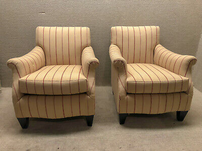 Pair of English Living Room Club Chairs Newly Upholstered & Restored