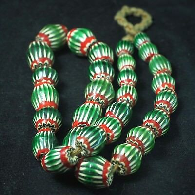 Antique Venetian Watermelon Chevron Bead Strand Old African Trade Beads Necklace