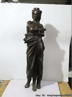Western Bronze Copper Beautiful Stand Woman Girl Lady Art Deco Sculpture Statue