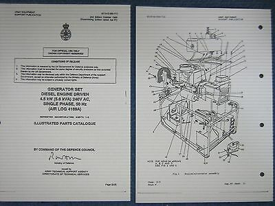 (1)Lister Petter. 4.5kW Generator Set Diesel. Illustrated Parts. Army Generator.