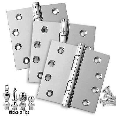 Door Hinges 4 x 4 Solid Brass Ball Bearing Polished Chrome With Tips - Set of 3