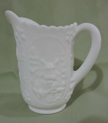Milk Glass Pint Pitcher, Raised Dutch Windmill Pattern Doeskin Matte Finish Nice