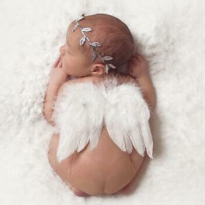 Newborn Baby New Born White Angel Wings Leaf Headband Photo Photography Prop