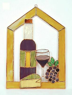 Gift Essentials Large Wine w/ Cheese & Grapes Stained Glass Steeple Window Pane