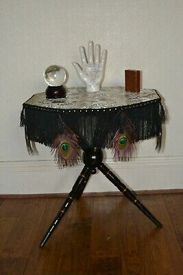 Ebony & Gilt Gypsy bobbin turned Hall  Side Window Wine Table C1870.