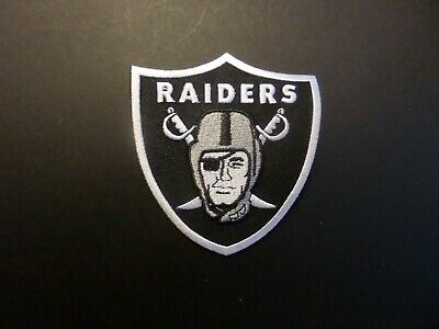 Oakland Raiders Silver & Black Embroidered Iron On Patches  3-1/4 X 3-1/4