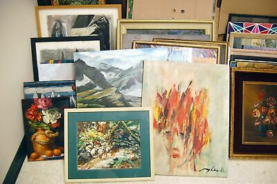 Lot of 100 Original Acrylic Oil Paintings Drawing Contemporary Litho Artwork Art