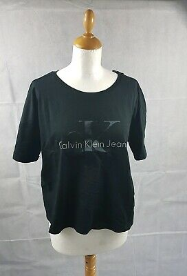 e737e14b2ca67 Calvin Klein Jeans Women s Crop Logo Black T-Shirt Short Sleeve Top UK Size  XL