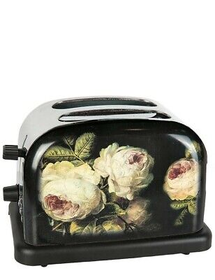 Victorian Trading Co NWOT Electric Toaster Black Stainless Steel Roses