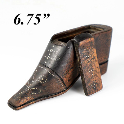 """Antique French 6.75"""" Carved Wood Shoe or Boot Table Snuff Box, Pique, c.1780s"""