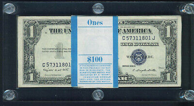 $1 1935G Pack 100 Consecutive Gem Silver Certificates In Lucite Pack Holder!