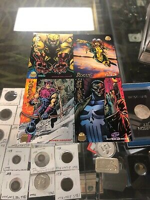 93cca5f0ace 1994 Marvel Universe Cards Promo Sheet Sabertooth Rogue Hawkeye Punisher NM
