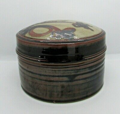 Arts & Crafts Circular Ceramic Box w/ Beige Lid w/ Inset Floral Design