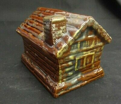 Ceramic Brown Log Cabin Coin Bank For Lincoln Pennies Made In Japan W/Stopper