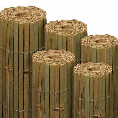 Bamboo Slat Fence Natural Garden Screening Roll Privacy Border Wind/Sun Protect