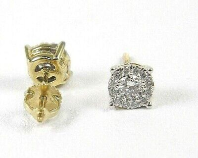 Round Diamond Solitaire Halo Stud Earrings 14K Yellow Gold .58Ct