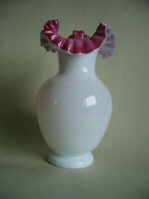 Antique Victorian Opaline Glass Vase With Pink Ruffle Rim