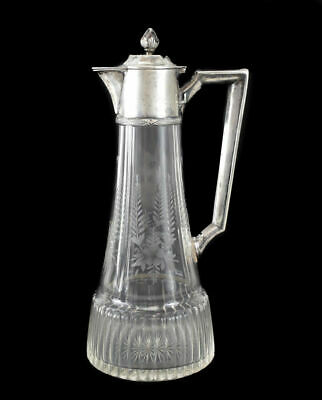 German 800 Silver & Etched Glass Ewer, circa 1900. Etched Foral Designs