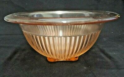 """Pink Depression Glass Vertical Rib Footed Nesting Bowl Federal Rare 8.5"""" X 3.5"""""""