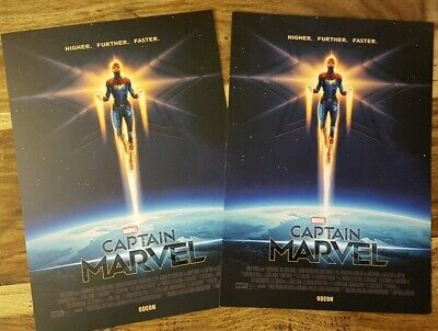 2 x Captain Marvel ODEON A4 Sized Poster: Matt Ferguson, Marvel Studios