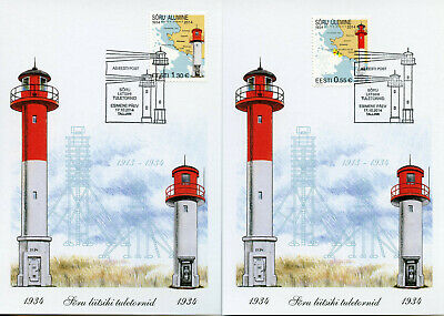 Estonia 2014 MAXI Soru Leading Light Lighthouses 2v Cards Architecture Stamps