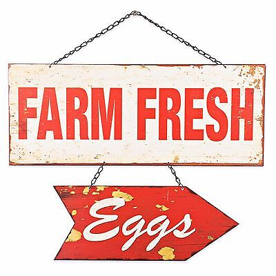 Creative Co Op Farm Fresh Eggs Hanging Metal Wall Art Vintage Distressed Rusti 24 95 Picclick