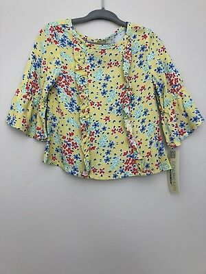 OshKosh Toddler Girl Shirt Size 18 Months Floral Bell Sleeve Ruffle Trim New