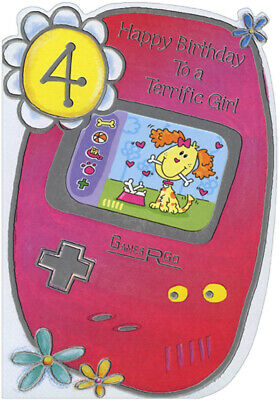 Video Game With Die Cut Window Age 4 4th Birthday Card For Girl
