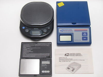 Lot of 3: OFFICIAL USPS 10LB DIGITAL SCALE +ROYAL DS5 5LB +250g x 0.1g PRECISION
