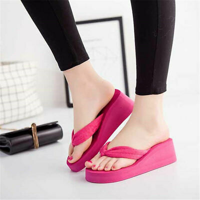 298d0149b3c Women Flip Flops Slippers Wedge Platform Sandals Shoes High Heels Summer  Beach
