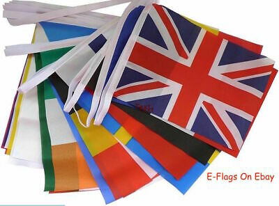 33ft Long 28 Fabric Flags EU European Union Nations Of Europe Eurovision Bunting