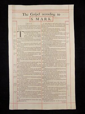 1680 Oxford First Folio King James Bible Leaf * Title Page Gospel Of Mark *  Nf