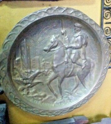Antique Middle East Dish Persian Knight Embossed Tray Copper Wall Plate Coaster