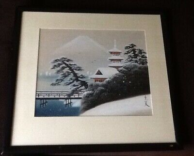 Japanese Woodblock Print On Silk Temple & Mt. Fuji  Signed Unknown ?