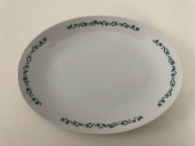 "Style House Stoneware BARONESS Turquoise Floral Vine - 14"" OVAL SERVING PLATTER"