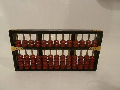 Vintage Chinese Wood Abacus Lotus Calculator 13 Rows 91 Beads Republic of CHINA