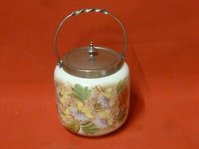 Antique Vintage Hand Painted Porcelain Silver Plate Ice Bucket Lid Floral Old S1